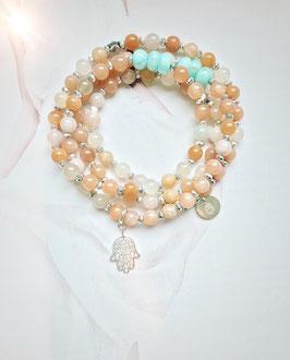 'IBIZA TRUST' Pink Moonstone mit HAMSA HAND Armband / Kette