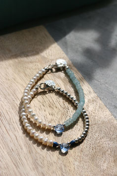 'BRIDE LINE' Pearl Blue & Pearl Silver Armband