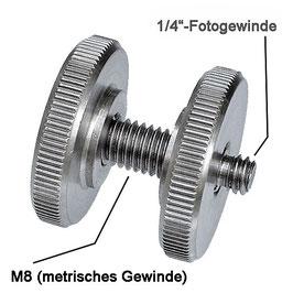"""Adapter 1/4""""-außen auf M8-außen und 2xRändelmutter"""