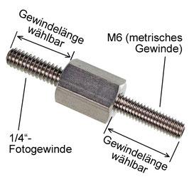 """Adapter Flex  1/4""""-außen auf M6-außen"""