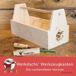 Werkdachs' Werkzeugkasten vorbereitet mit Werkzeug