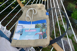 RUCKSACK JUTE - TO LIVE IS TO KEEP MOVING