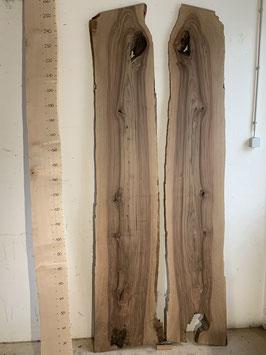 2 Nussbaum Bretter. vom gleichen Baum. Aussenkante hat Wurmlöchli. Wurm ist nicht mehr drin. Dicke 3cm Nr. 1766
