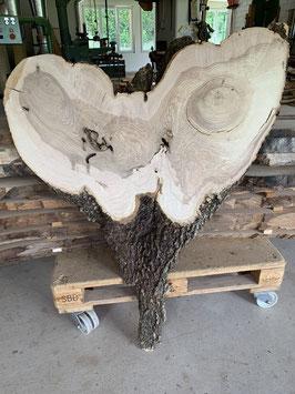 Herzbrett. Seltene Herz-Form. Uralte Esche aus Appenzell