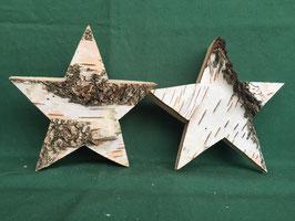 Sterne aus Birkenholz                  mit Rinde