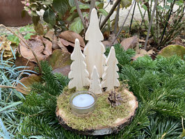 Kleiner Wald mit Teelicht