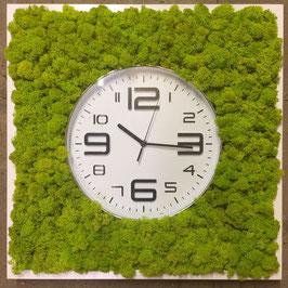 TOUCH GREEN Moosbild 50x50cm Frühlingsgrün mit Uhr 3D