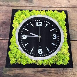 TOUCH GREEN Moosbild 25x25cm Frühlingsgrün mit Uhr Modern Schwarz