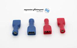 Flachsteckhülsen 6,3 x 0,8 vollisoliert Rot 0,25 - 1,0 mm² u. Blau 1,5 - 2,5 mm²