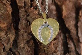 Vergoldeter Herzanhänger aus Sterlingsilber mit Zirkonia besetztem Hufeisen (beweglich) und Kette