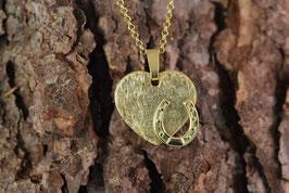 Vergoldeter Herzanhänger aus Sterlingsilber mit Hufeisen und vergoldeter Kette