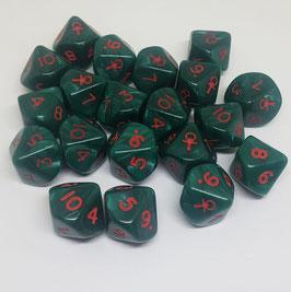 Würfel 10-Seitig Ankh (Green marblered, 1=Ank)