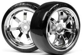 T-Drift Reifen RAYS 57S-Pro / Felgen 26mm Chrom (2)