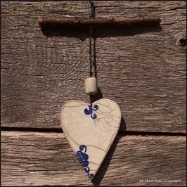"""Suspension Cœur """"Fleur bleue"""""""