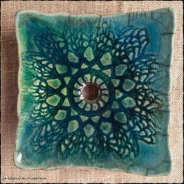 Porte-savon carré dentelle turquoise