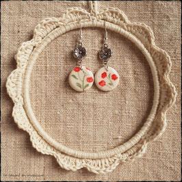Boucles d'oreilles Fleurs rouges