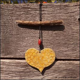 Suspension Cœur jaune
