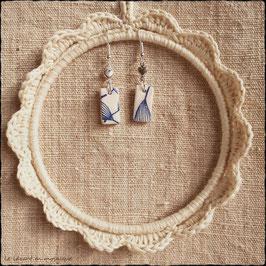 Boucles d'oreilles rectangle feuillage bleu