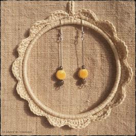 Boucles d'oreilles Jaunes & Perle de Jaspe