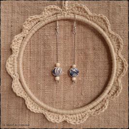 Boucles d'oreilles Feuillage bleu & perles sur tige