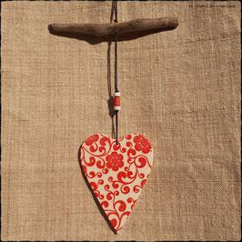 Suspension Cœur Fleurs rouges