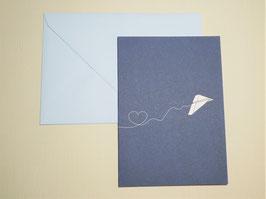 Grußkarte - Paperplane Heart - Petrol