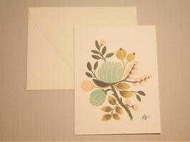 Grußkarte - Blue Floral