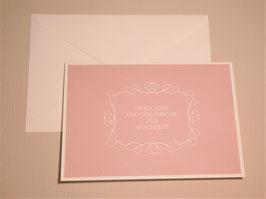 Grußkarte - Hochzeit Rosé