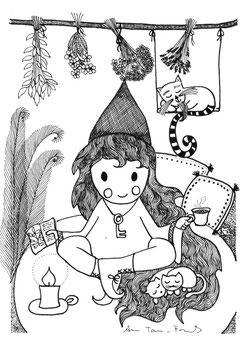 """""""Die kleine Hexe Veilchenwurz trinkt Tee"""""""