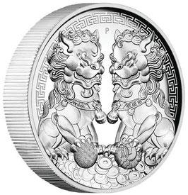 Guardian Lions, Double Pixiu, 2 Oz Silbermünze, 2020, High Relief