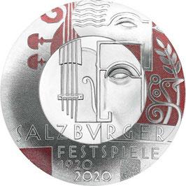 20 Euro Silbermünze, 100 Jahre Salzburger Festspiele, 2020, Polierte Platte