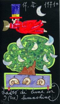 """Francesco Musante """"Ladro di lune con 3(tre) lumachine"""" cm 10x17 nero"""