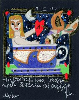 """Francesco Musante """"Ho trovato una sirena nella tazzina di caffè"""" cm 8x10 su cartoncino blu"""