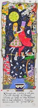 Francesco Musante - Stringiti a me, ti porterò in volo come in un dipinto di Chagall.  Voleremo sul Golfo dei Sogni Ritrovati dove le lune scendono a riposare nascondendosi dal giorno - cm 17x50