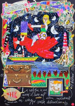 Francesco Musante - La valigia in una mano, il cuore nell'altra, iniziamo un viaggio senza destinazione cm 25x35 blu