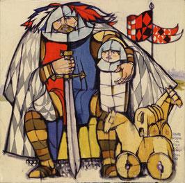 """Francesco Nex """"Cavaliere valdostano con figlio e cavalli, 2011"""" cm 43x43"""