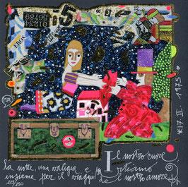 Francesco Musante - Il nostro cuore, la notte, una valigia e partiamo insieme per il viaggio del nostro amore cm 20x20 blu