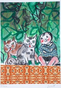 Emanuele Luzzati - Bimbo e gatti
