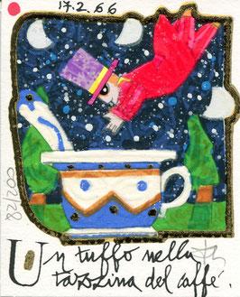 Francesco Musante - Un tuffo nella tazzina del caffè - cm 8x10 bianco
