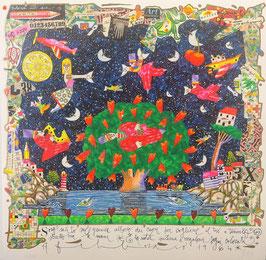 Francesco Musante - Sono salito sul grande albero dei cuori per cogliere il tuo e tenerlo stretto tra le mani. E la notte continua a regalarci sogni colorati cm 50x50 bianco