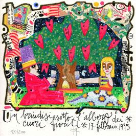 Francesco Musante - Un brindisi sotto l'albero dei cuori fioriti - cm 20x20