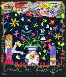 Francesco Musante - L'amante dei fiori cm 20x23 nero