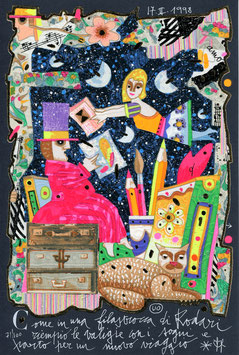 Francesco Musante - Come in una filastrocca di Rodari riempio le valigie con i sogni e parto per un nuovo viaggio cm 20x30 blu