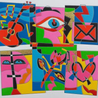 Ugo Nespolo - Love messages cm 30x30