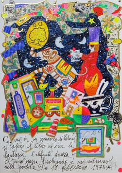 Francesco Musante - Come in un romanzo di Calvino si apre il libro ed esce la fantasia, l'elefante danza, il treno passa fischiando e noi entriamo nelle parole cm 25x35 bianco