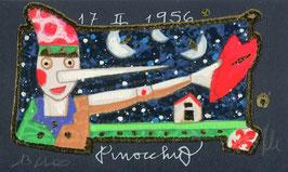 "Francesco Musante ""Pinocchio"" cm 6x10 blu"