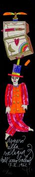 """Francesco Musante """"Appeso alla valigia dell'arcobaleno"""" cm 6x30 nero"""