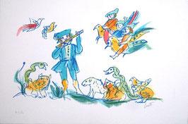 Emanuele Luzzati - Flauto magico: Tamino e animali