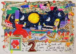 Francesco Musante - Noi due solo noi due in questa notte in riva al mare, la musica delle onde in un brindisi, i nostri cuori ed è subito amore cm 25x35 bianco