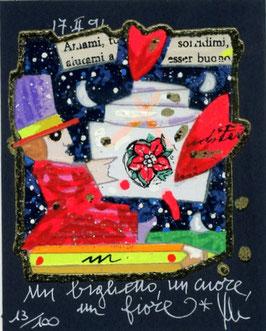 Francesco Musante - Un biglietto, un cuore, un fiore - cm 8x10 blu